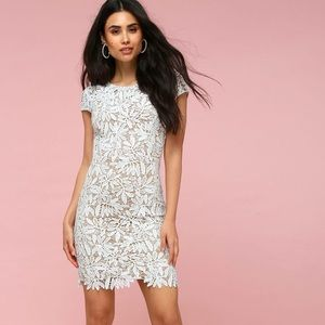 Lulus Right Now White Lace Bodycon Dress